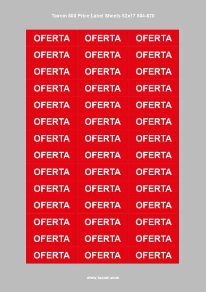 "3 Taxom 800 Price Label Sheets 52x17 ""OFERTA"""
