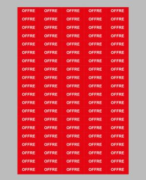 """3 feuilles micro-perforées A4 """"OFFRE"""" avec format d'étiquettes 32x12mm"""