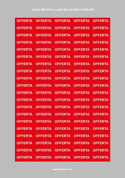 """3 Taxom 500 Price Label Sheets 32 x 12 """"OFFERTA"""", Art.Nr.503-670"""