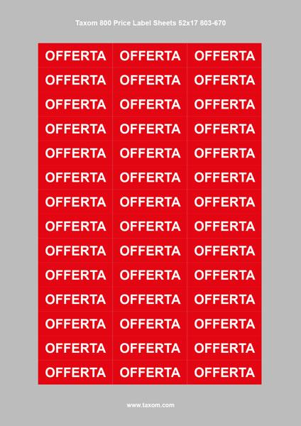 """3 Taxom 800 Price Label Sheets 52x17 """"OFFERTA"""""""